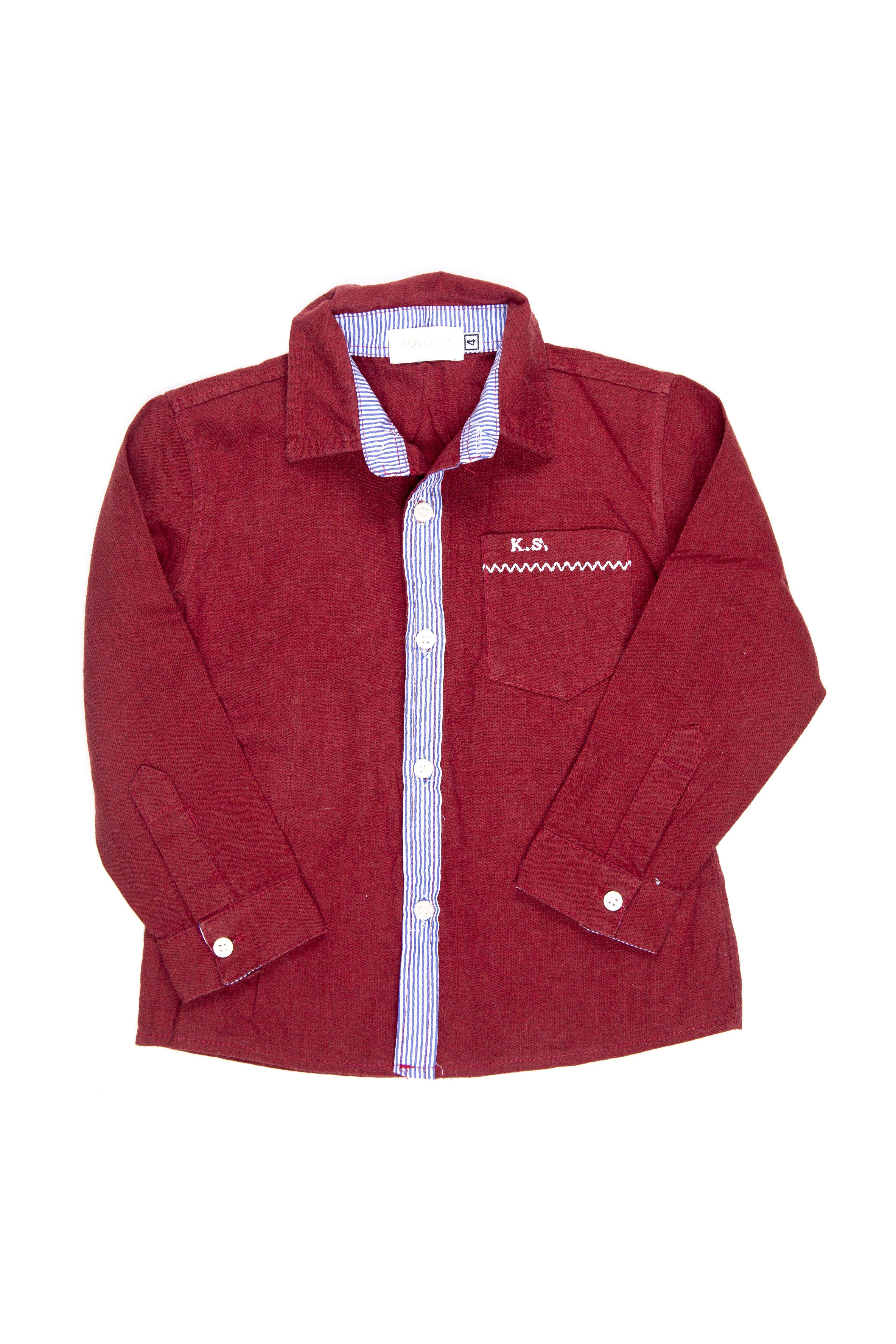 camisa guinda 100% algodón - maloko kids