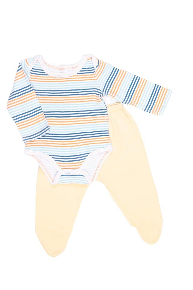 Body a rayas 100% algodón con pantalón amarillo con pie - URB foto 1