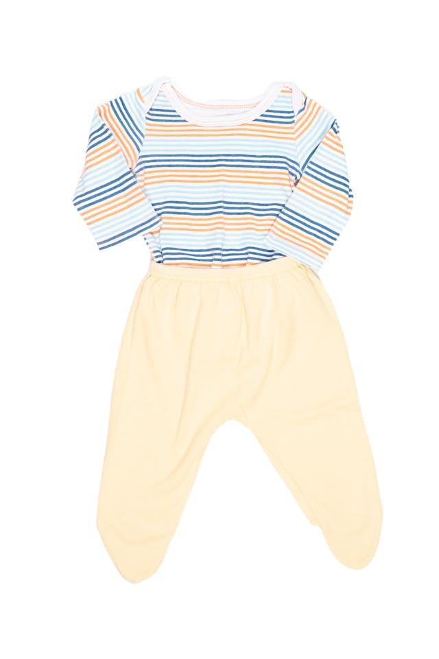 Body a rayas 100% algodón con pantalón amarillo con pie - URB foto 2