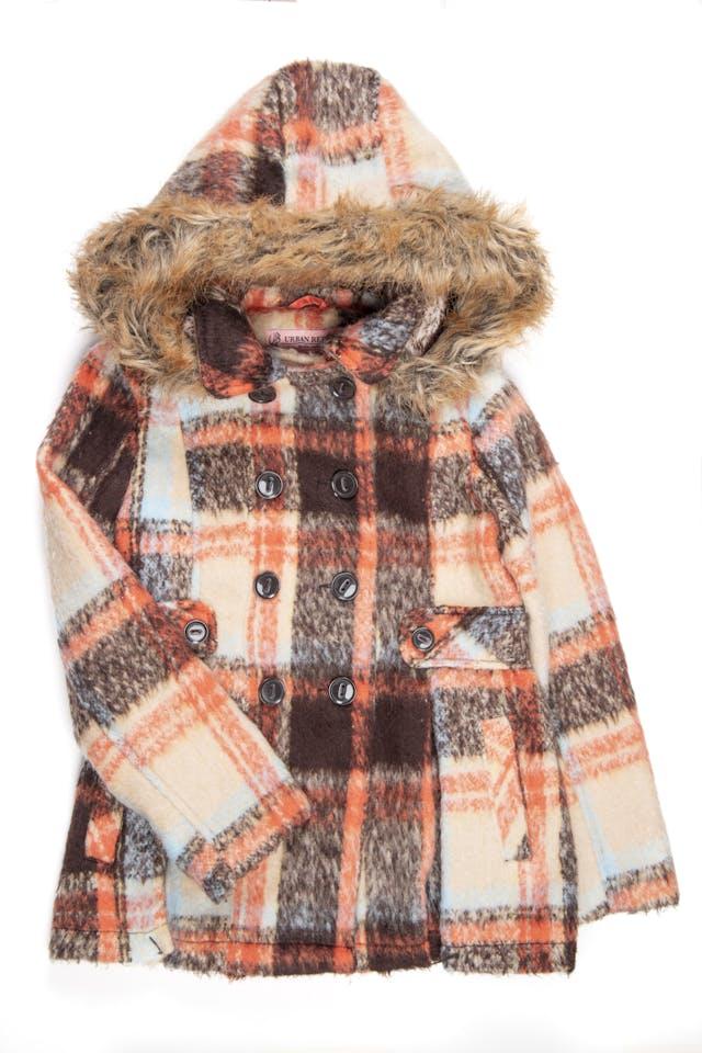 Abrigo escosés de colores con capucha removible de polar por dentro y borde de peluche  - Urban Republic foto 1