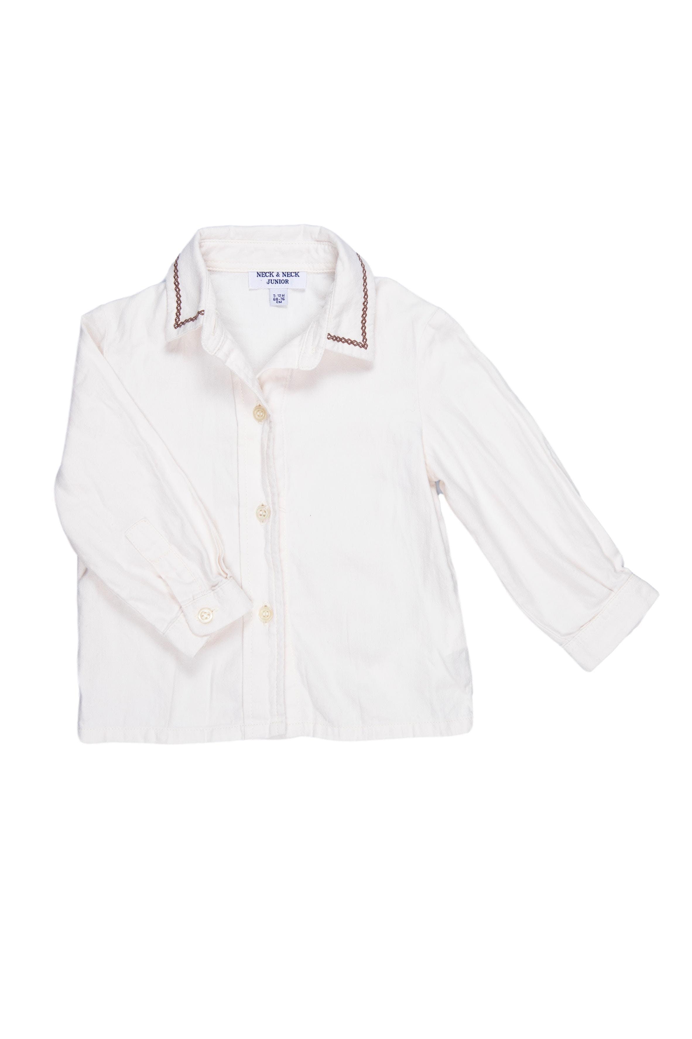 Camisa crema con cuello bordado marrón 100% algodón, muy suavecita - Neck & Neck