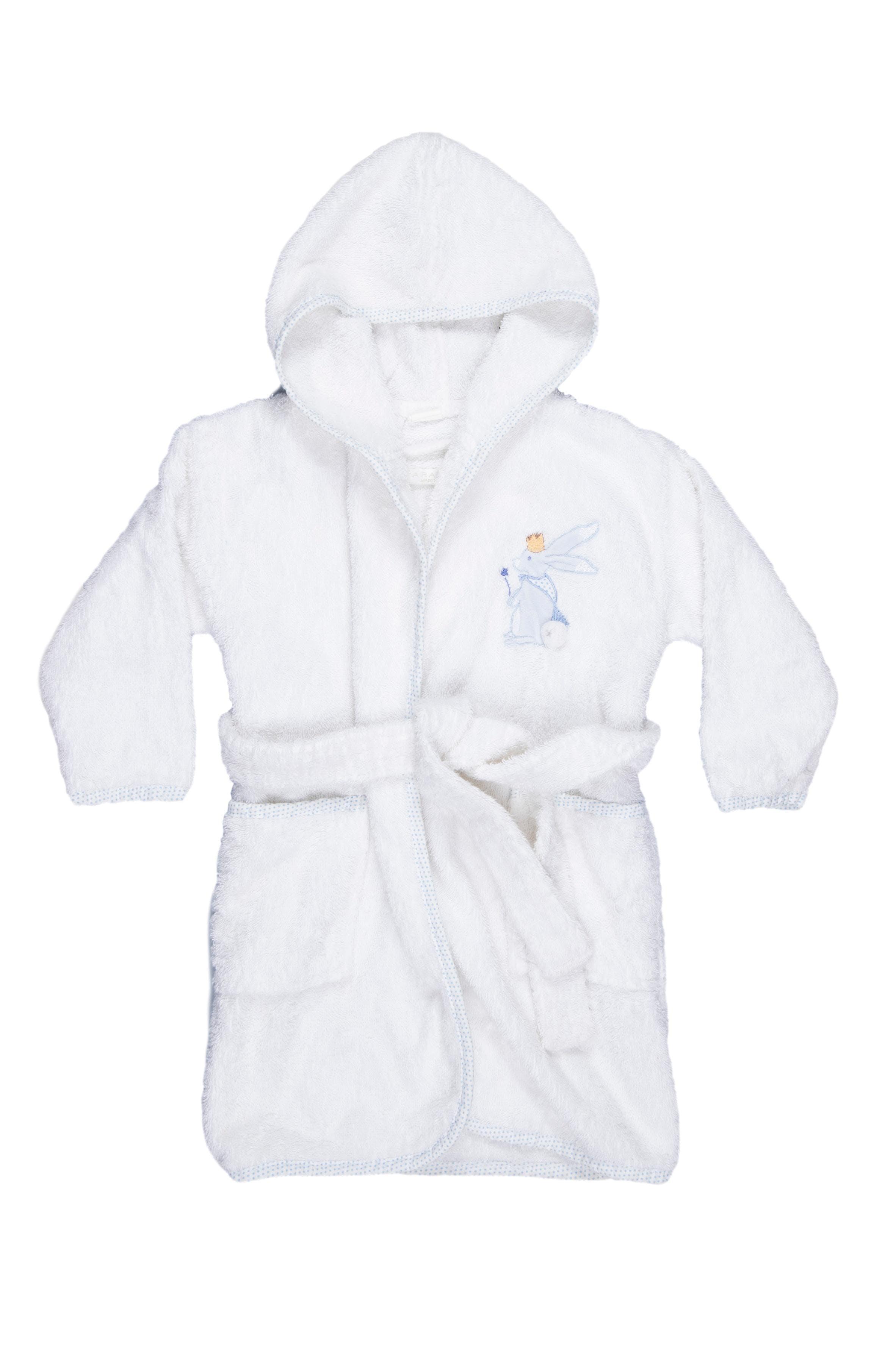 Bata de baño blanca con capucha. Tiene un puntito a la altura del pecho. 100% algodón - Zara