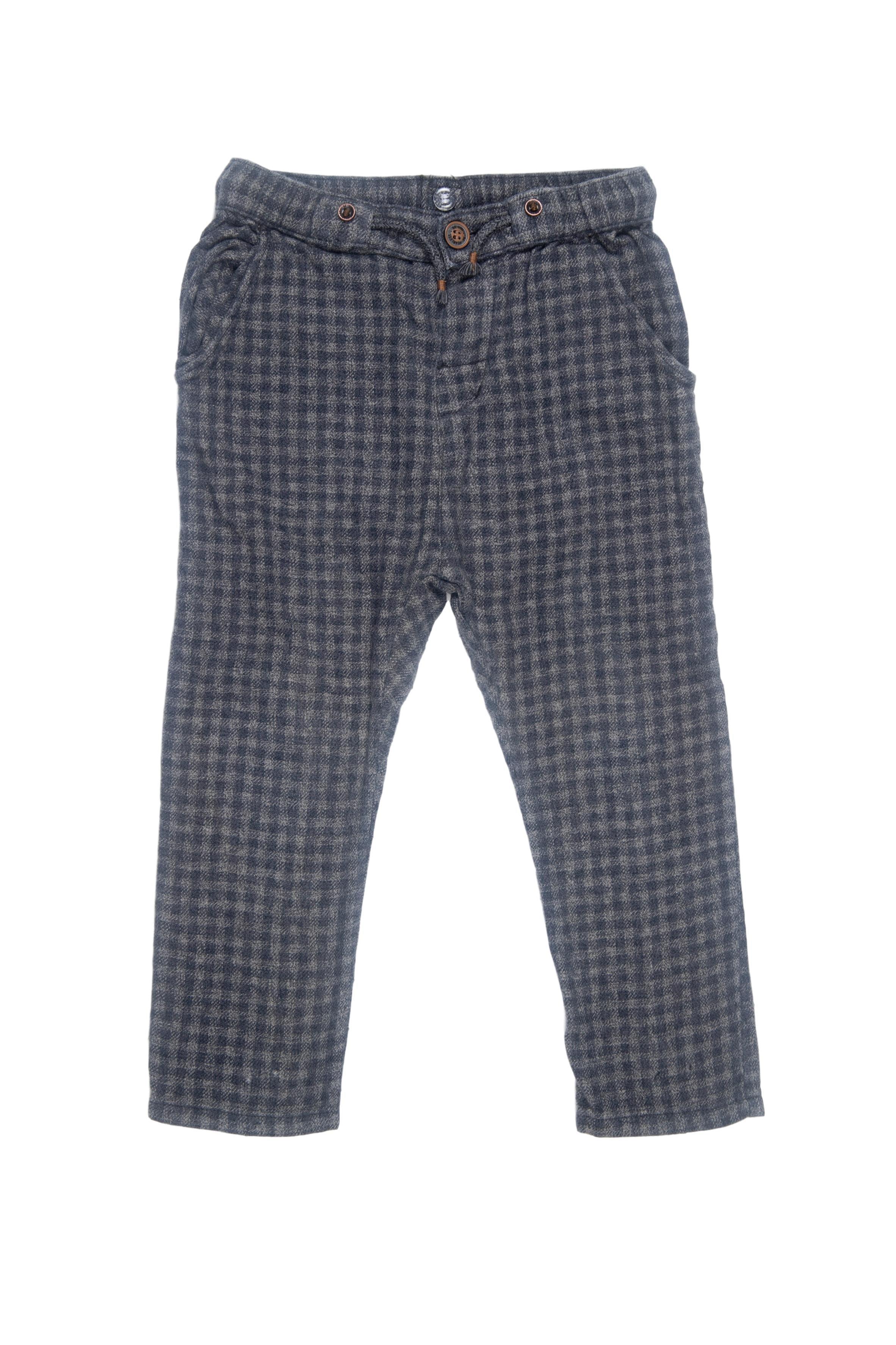 Pantalón gris a cuadros pitillo, franela 100% algodón - Hm