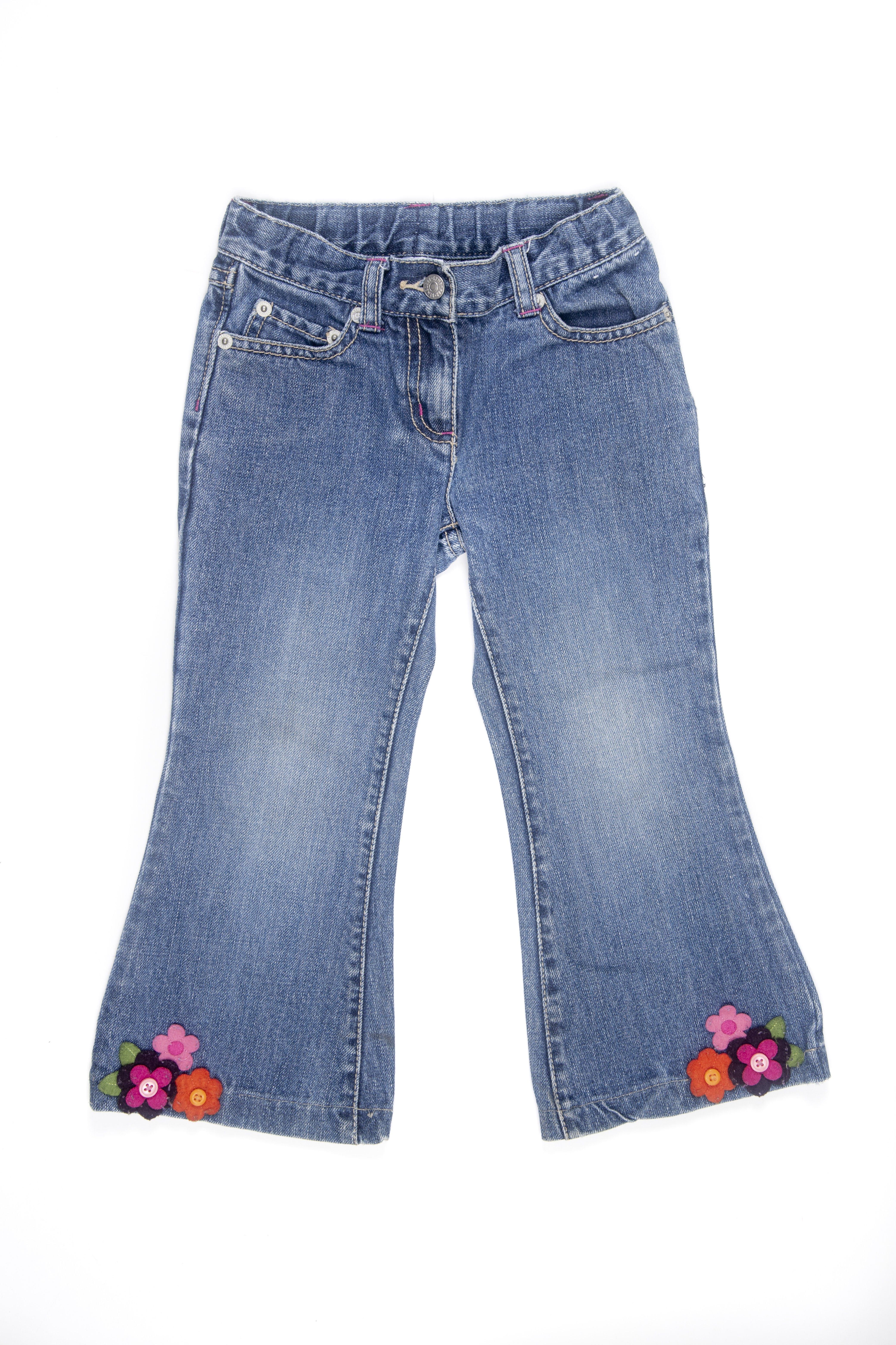 Jean con flores de fieltro en basta, 100% algodón. Cintura regulable - Gymboree
