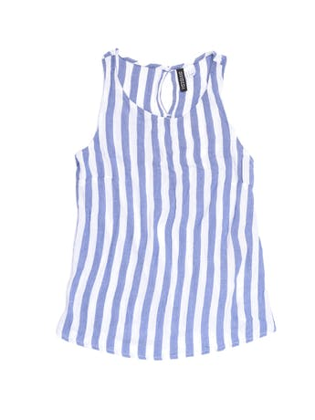 Blusa H&M a rayas blancas y azules, tela texturada, aberturas en la espalda. Busto 84cm foto 1
