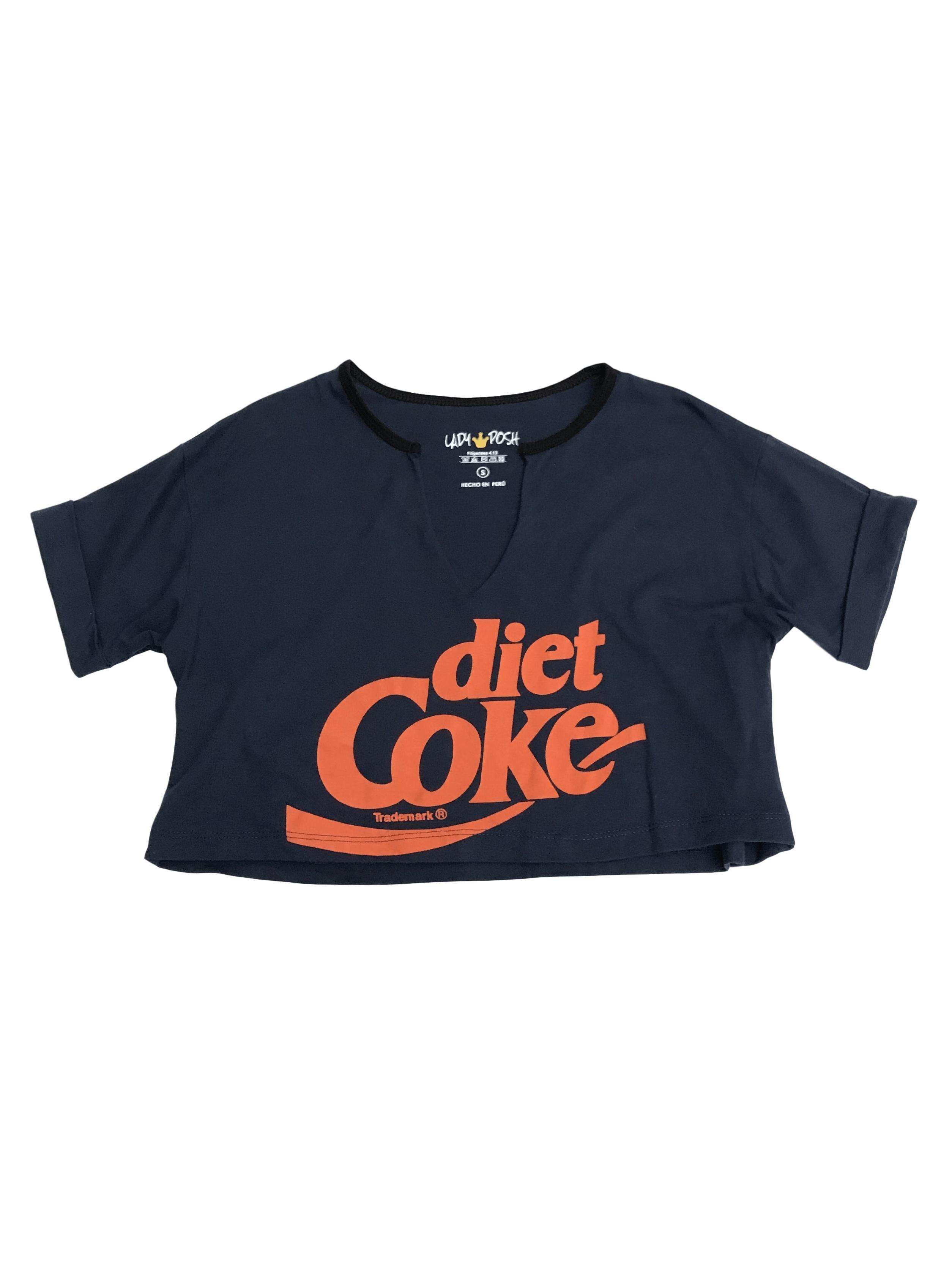Polo crop azul con print Diet Coke