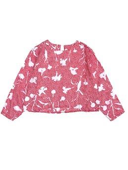 Blusa corta vintage de tela plana roja y blanca, manga 3/4 foto 1