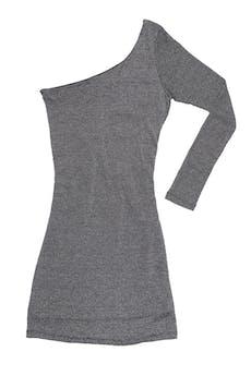 Vestido 15.50 de una sola manga, tela de punto ploma con hilos escarchados stretch, forrado. Largo 88 cm foto 1