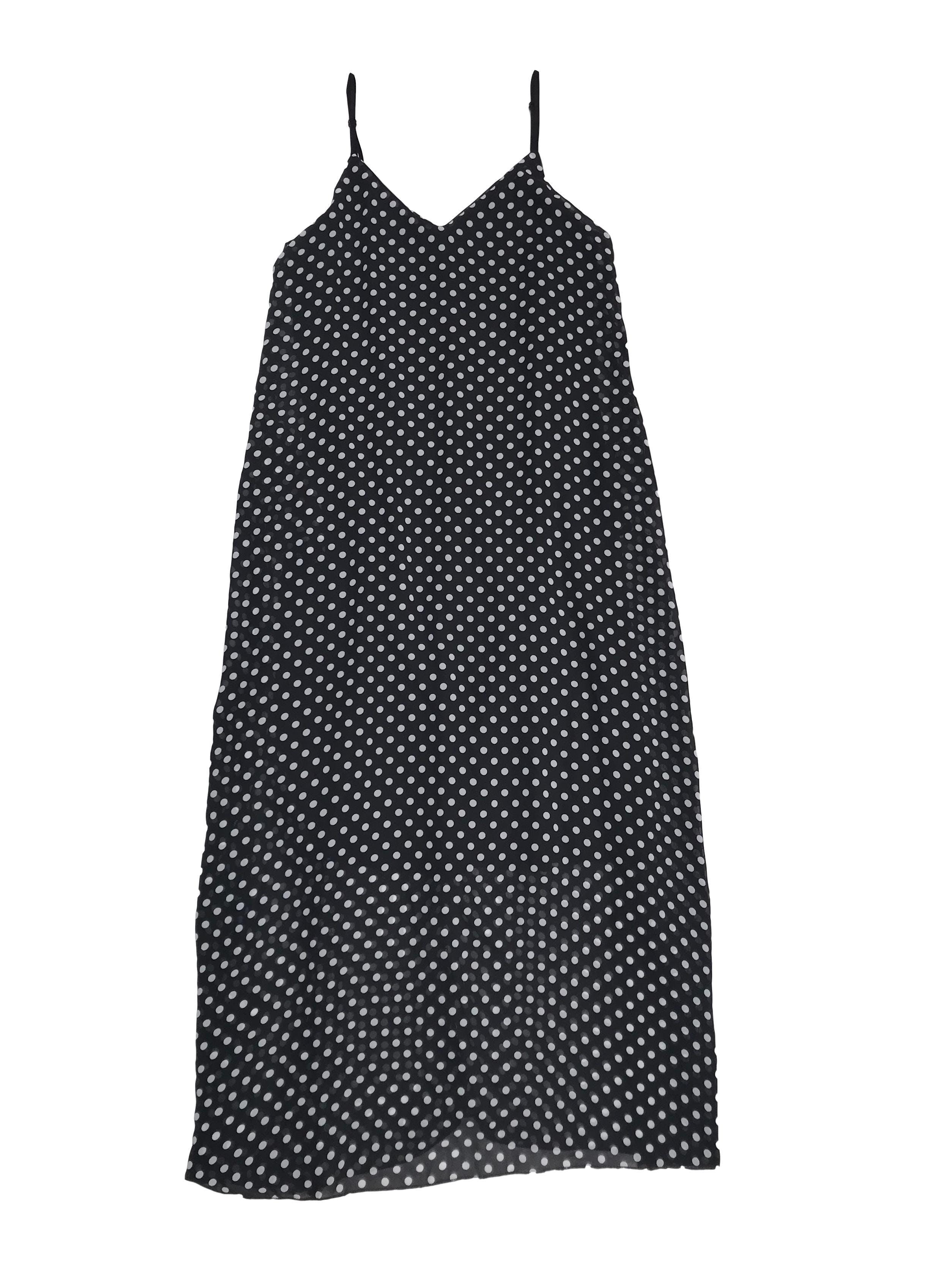 Vestido de gasa negra con dots blancos, largo y suelto, tiritas regulables, forrado
