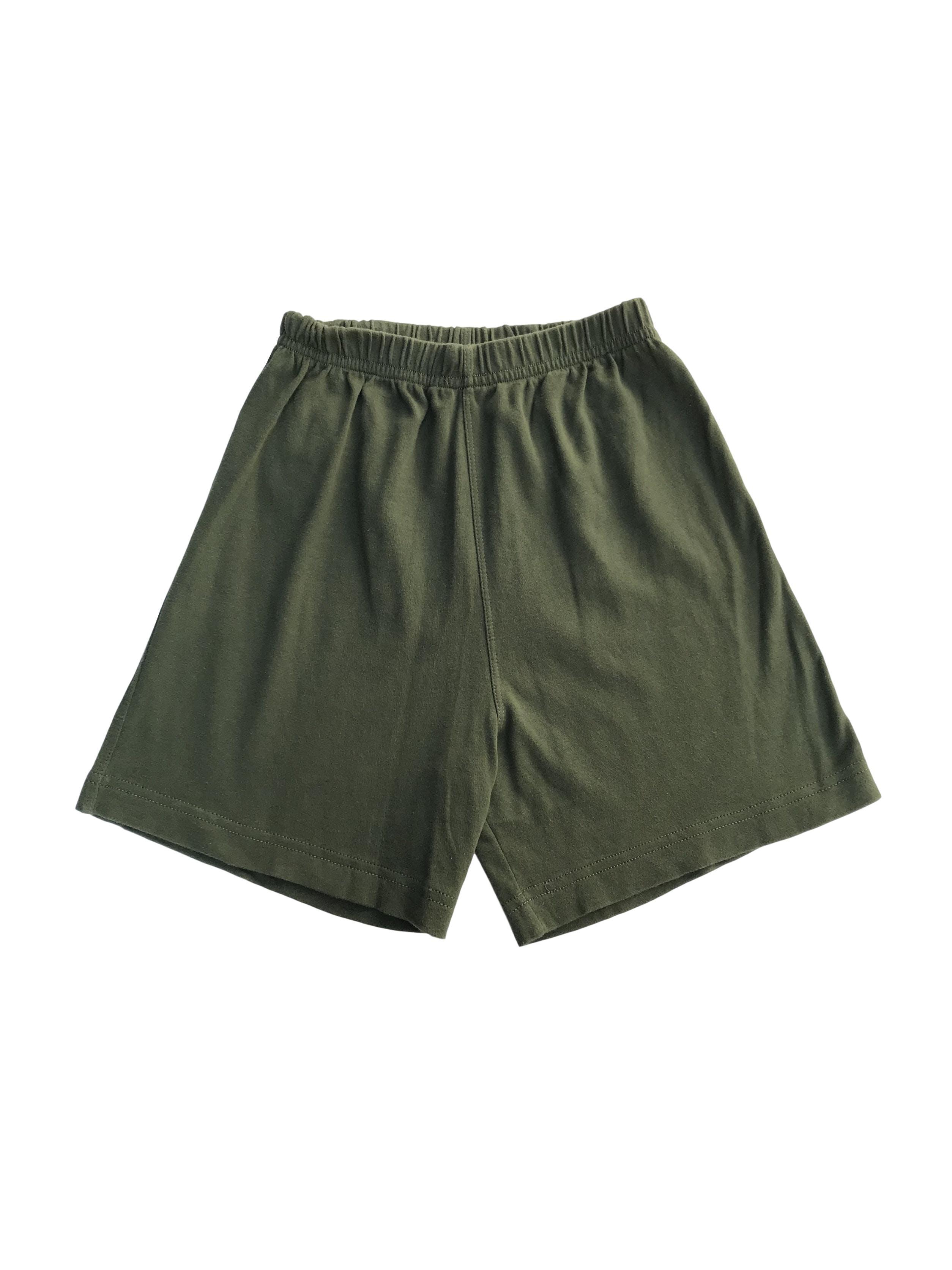Short verde de algodón con elástico en la pretina