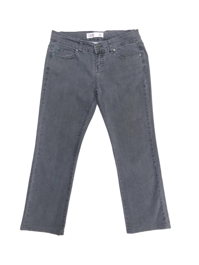 Pantalón jean plomo 100% algodón, corte recto al tobillo. Pretina 76cm Largo 85cm foto 1