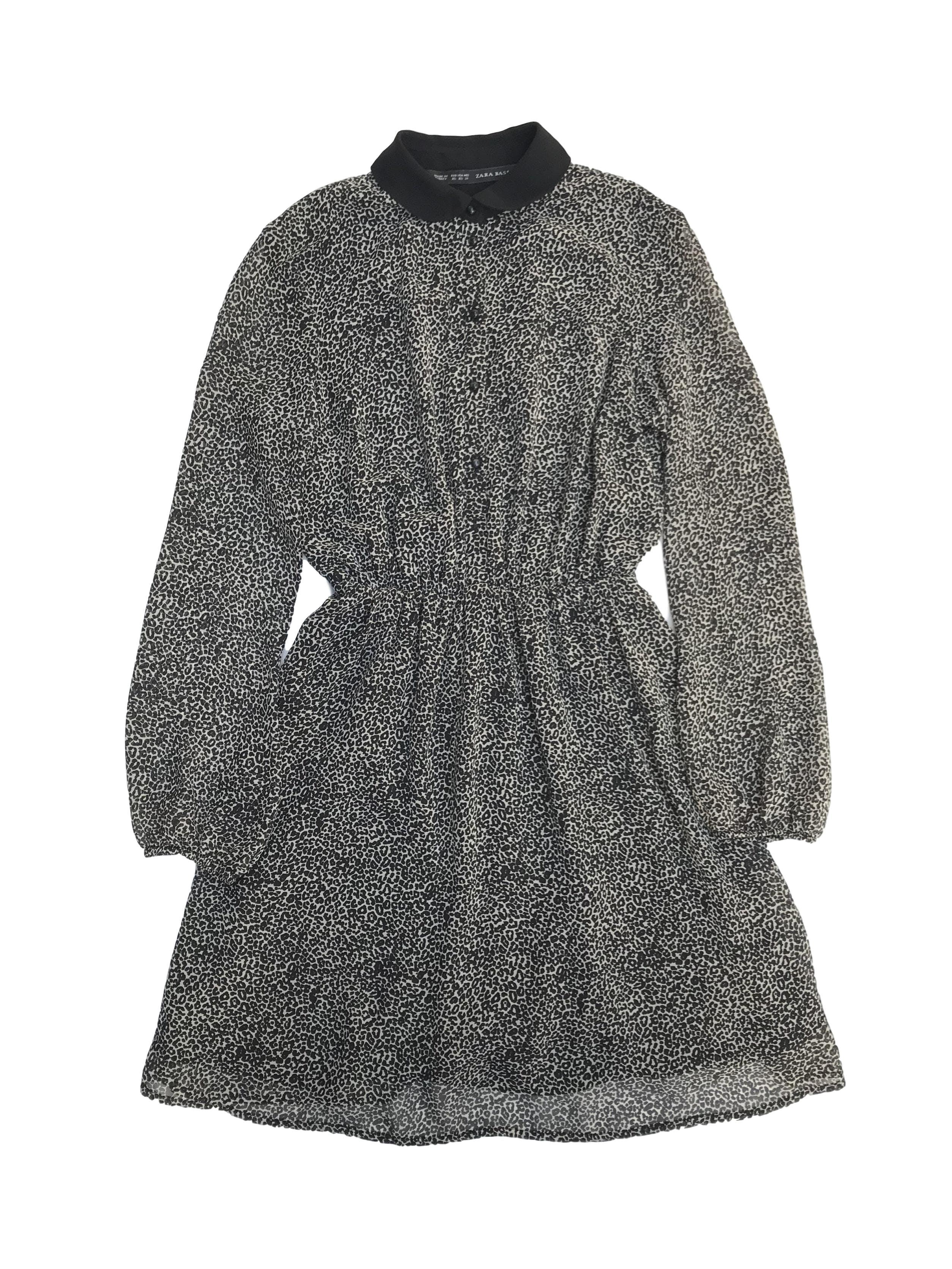 Vestido Zara de gasa estampado animal print crema y negro, cuello bebe con botones al centro, elástico en la cintura y forrado. Largo 86cm. Precio original S/ 200