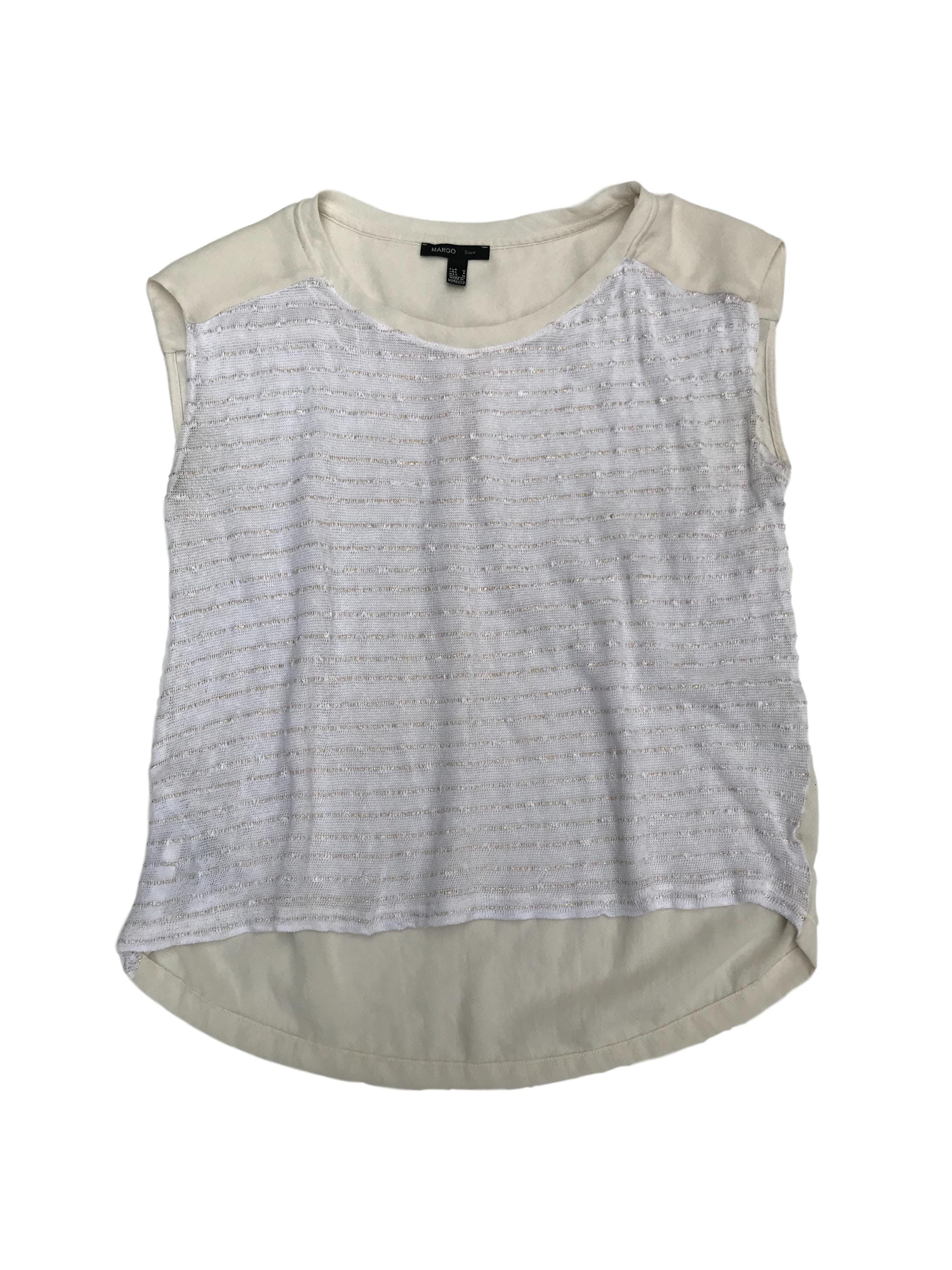Blusa Mango crema de gasa con canesú y pliegue,con delantero tipo tejido, basta asimétrica