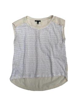 Blusa Mango crema de gasa con canesú y pliegue,con delantero tipo tejido, basta asimétrica foto 1