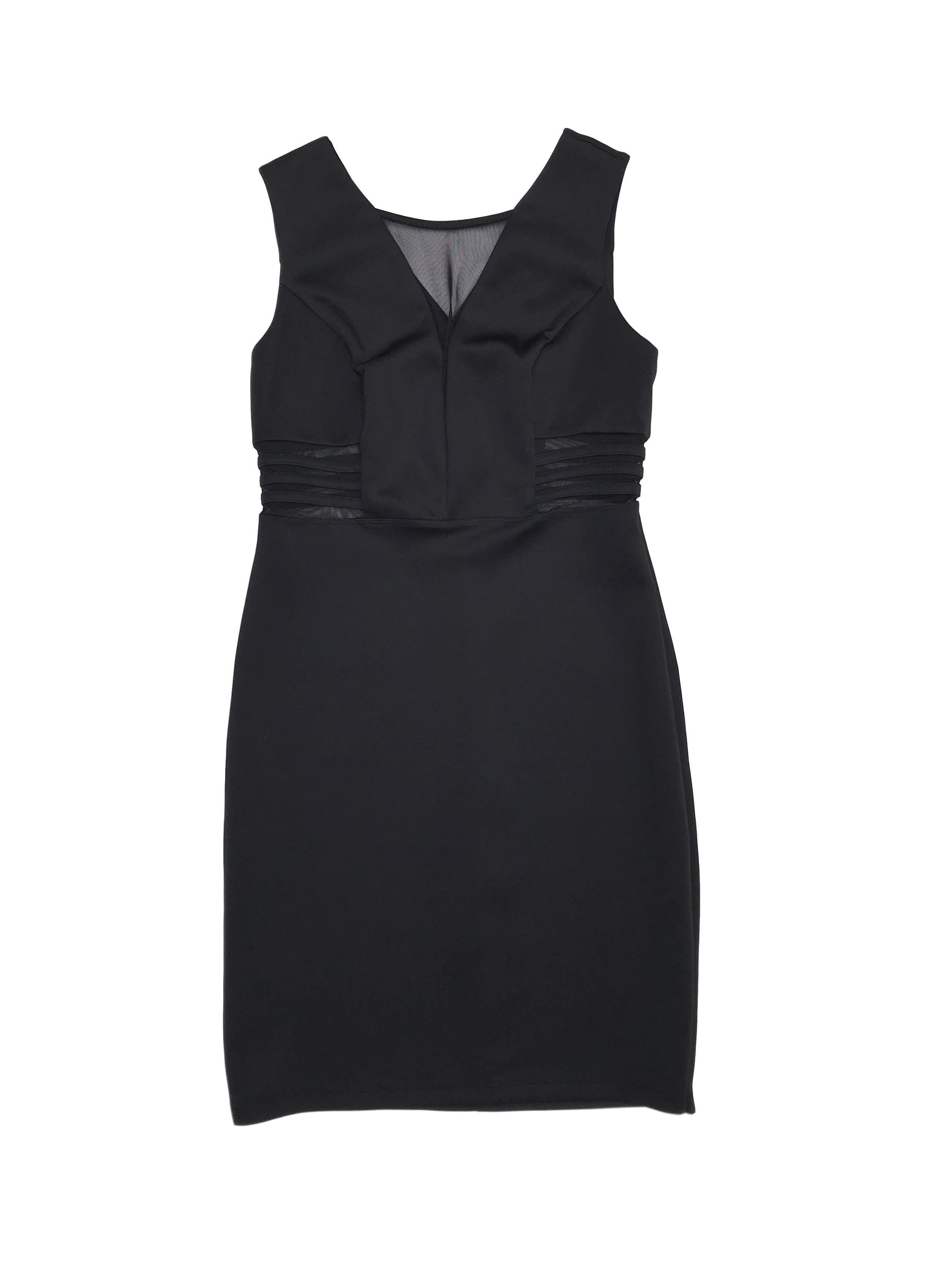 Vestido negro tela tipo neopreno stretch, tul transparencia en escote y cintura