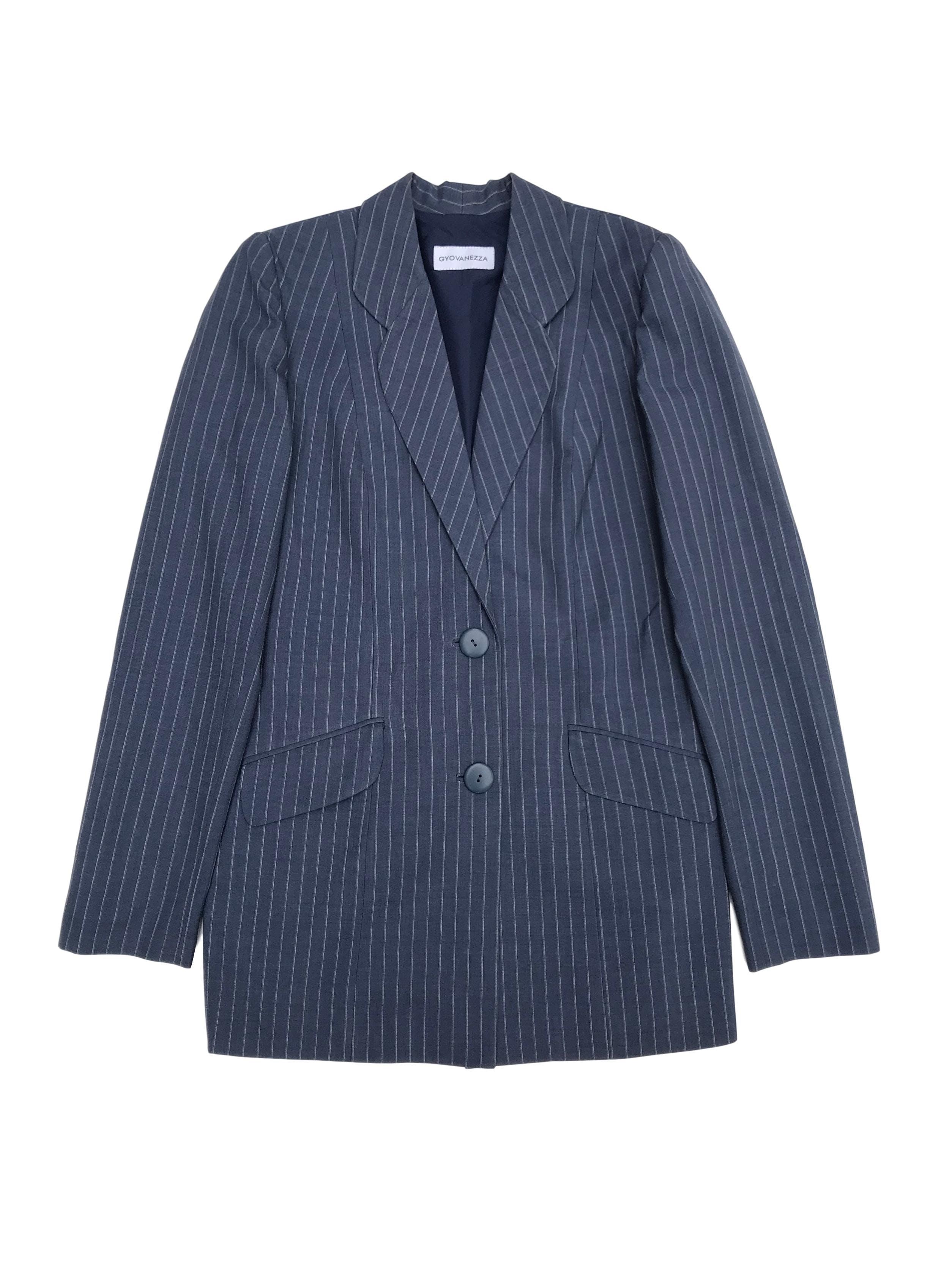 Blazer vintage oversized azul con líneas blancas, forrado, con botones y bolsillos delanteros