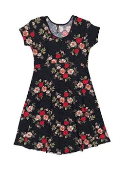 Vestido negro con estampado de flores, tela stretch tipo lycra, falda en A foto 1
