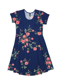 Vestido azul con estampado de flores, corte debajo del busto y falda en A. Largo 94cm foto 1