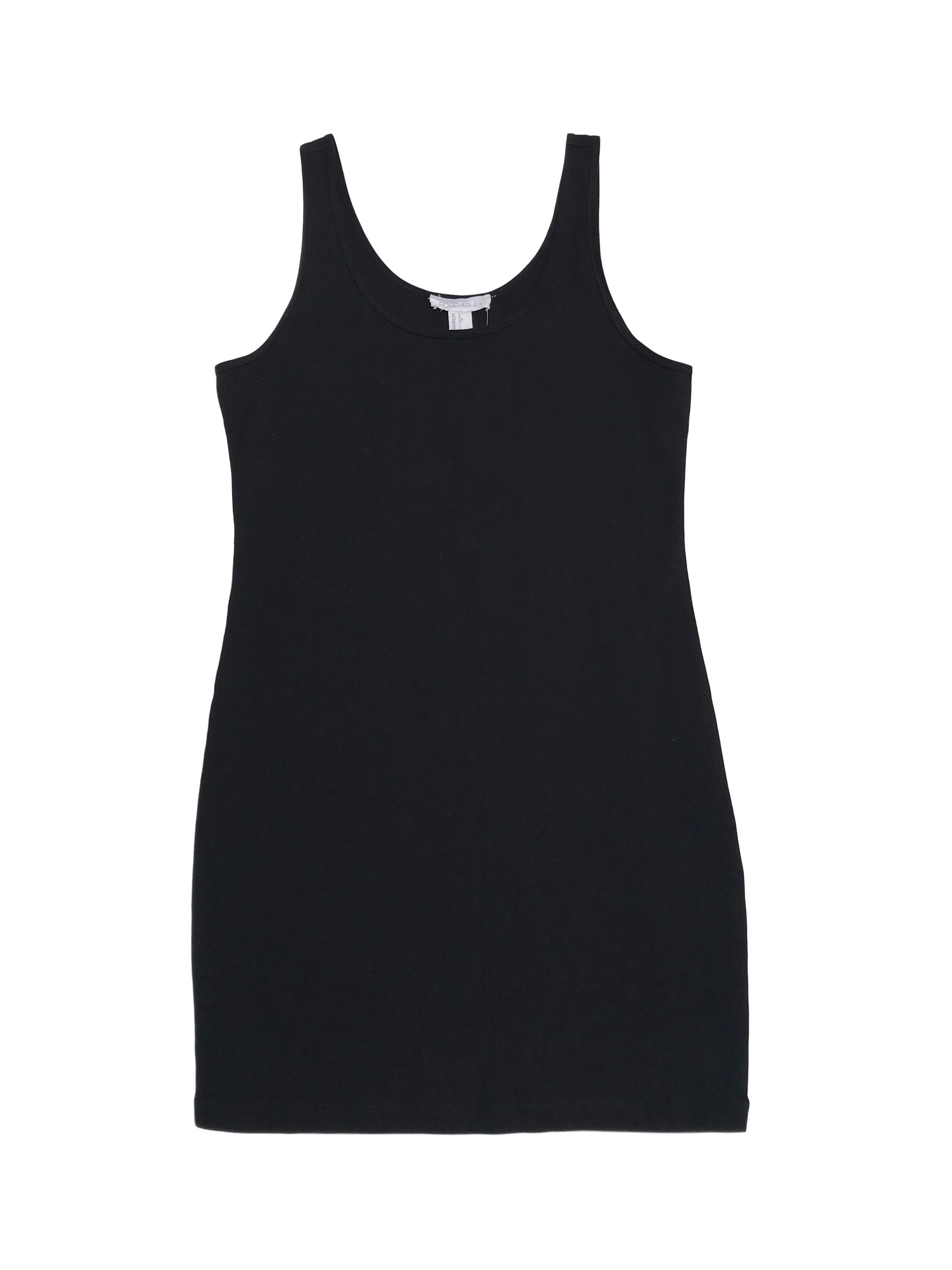 Vestido negro negro de algodón stretch
