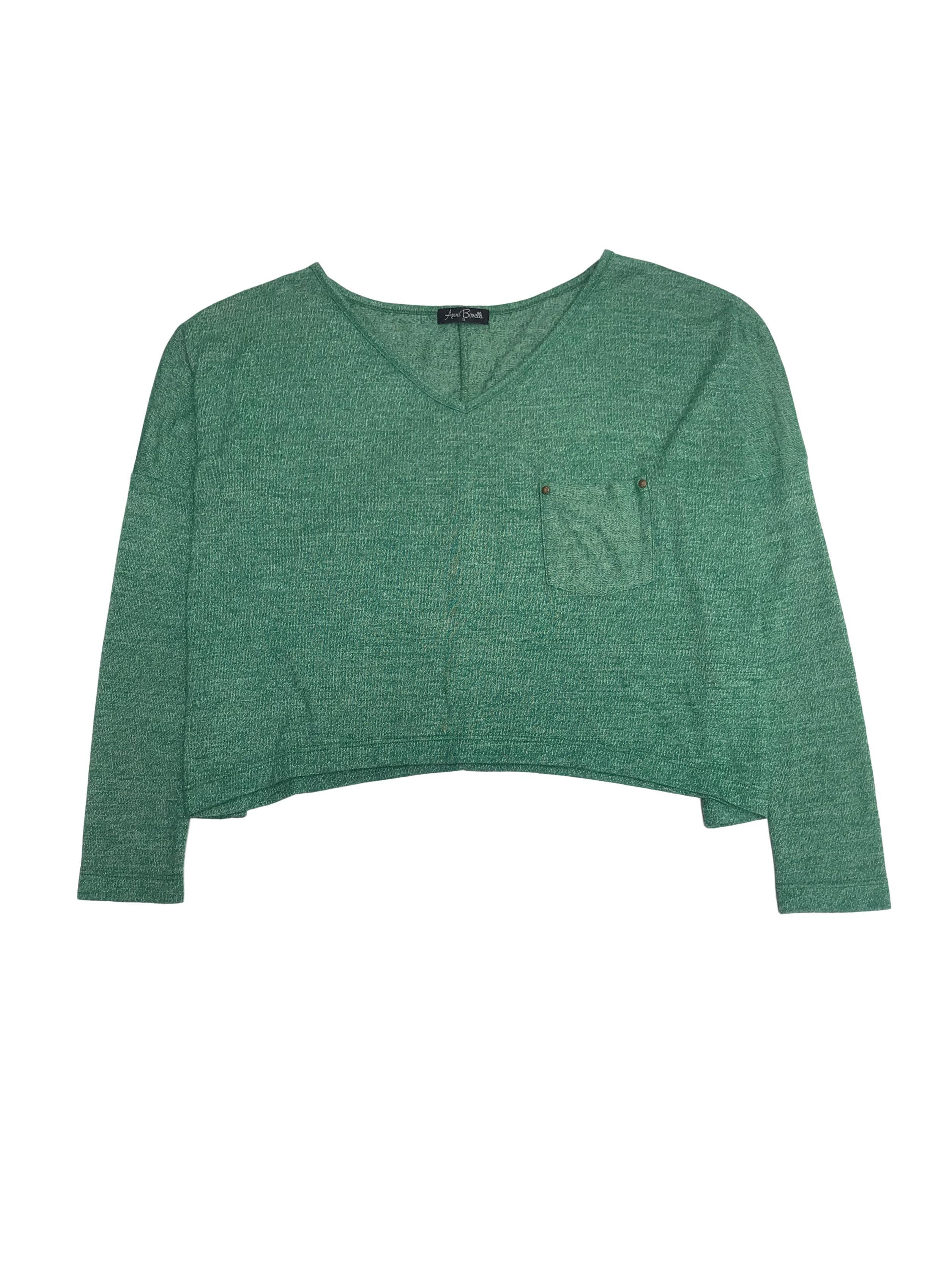 Chompita corta oversized verde jaspeada con bolsillo en el pecho