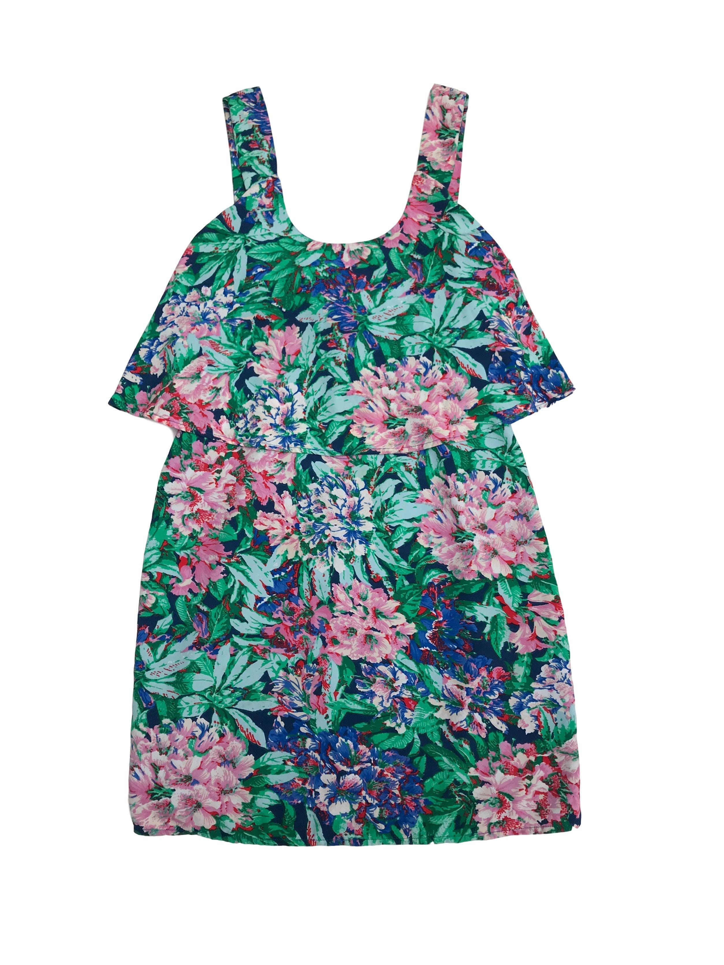 Vestido Marquis de gasa floreada en tonos azules, verde y rosas, forrado, tiras gruesas, volante en el top y cierre en la espalda. Largo 88cm