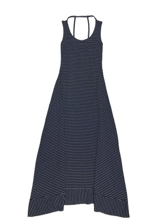 Vestido largo negro con líneas blancas, tiritas en la espalda, falda en A. Tela tipo algodón con linda caída foto 1