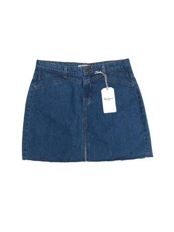 Falda denim Pepe Jeans 100% algodón con abertura y desflecado en la basta. Nueva con etiqueta, precio original S/ 130. Pretina 84cm Largo 42cm foto 1