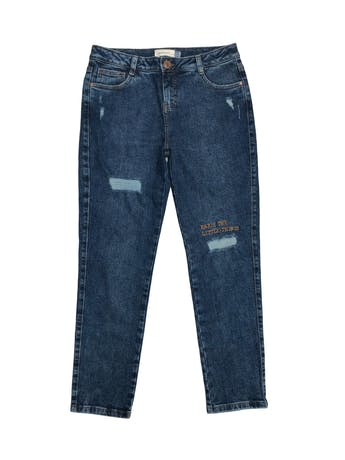 Pantalón boyfriend jean Sybilla 97% algodón con rasgado y bordado delantero. Pretina 80cm Cadera 96cm. Nuevo foto 1