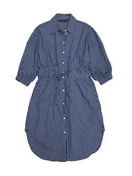 Vestido Zara azul con líneas blancas, estilo camisero 81% algodón, manga 3/4 con elástico, cintura regulable (medida máxima 80cm). Largo 95cm. Nuevo foto 1