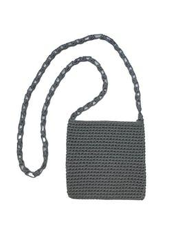 Carterita tejida a crochet gris con asa al hombro. Medidas 17x18cm foto 1