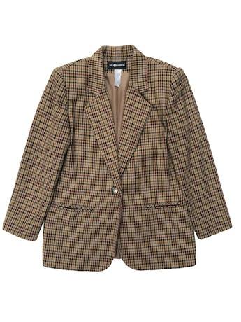 Saco vintage tipo lanilla marrón con líneas verdes y guindas, forrado, de un solo botón. Largo 72cm foto 1