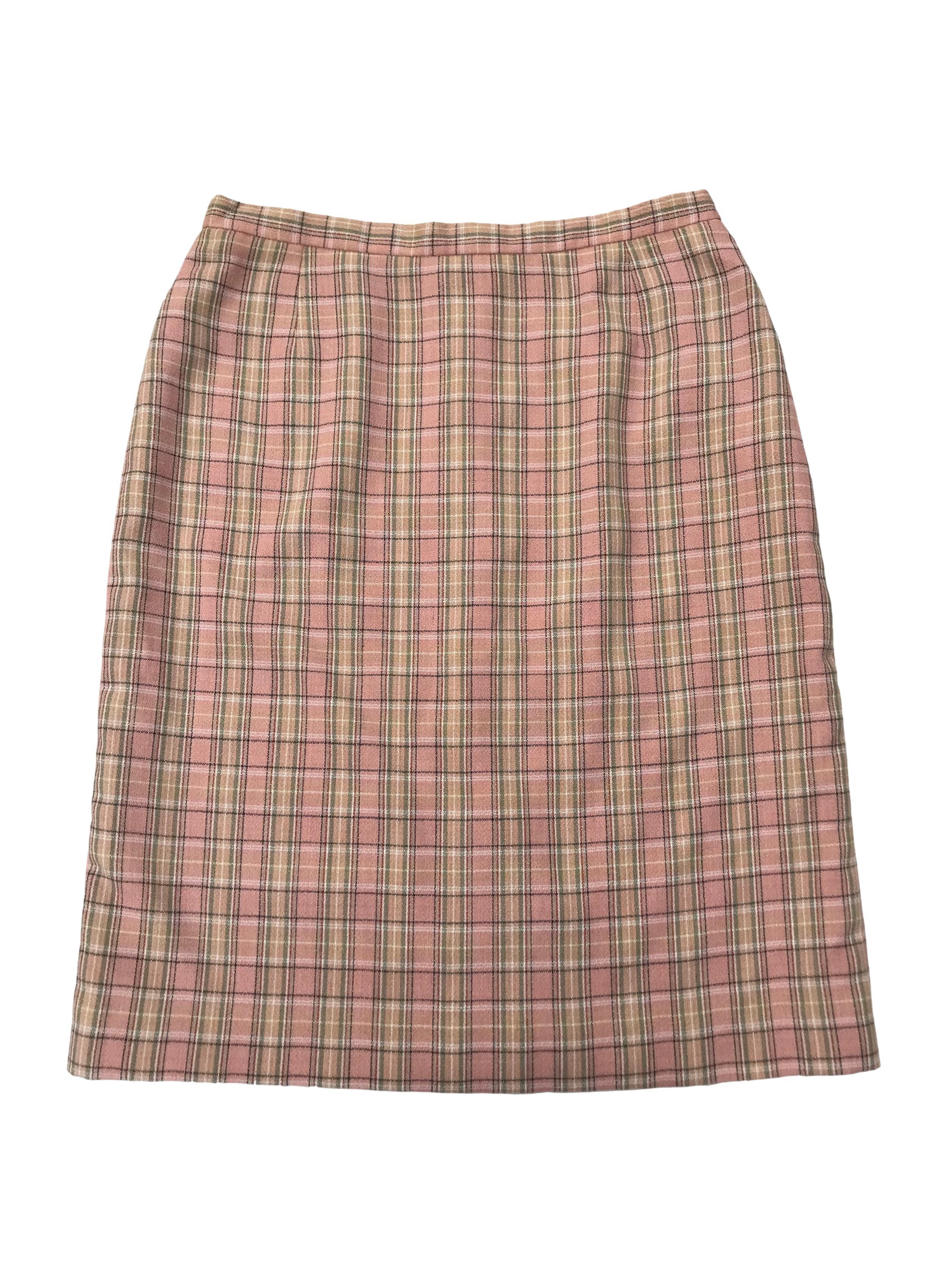 Falda Mae Alcott palo rosa a cuadros, 50% algodón, forrada, con cierre y botón posterior. Cintura 76cm Largo 60cm