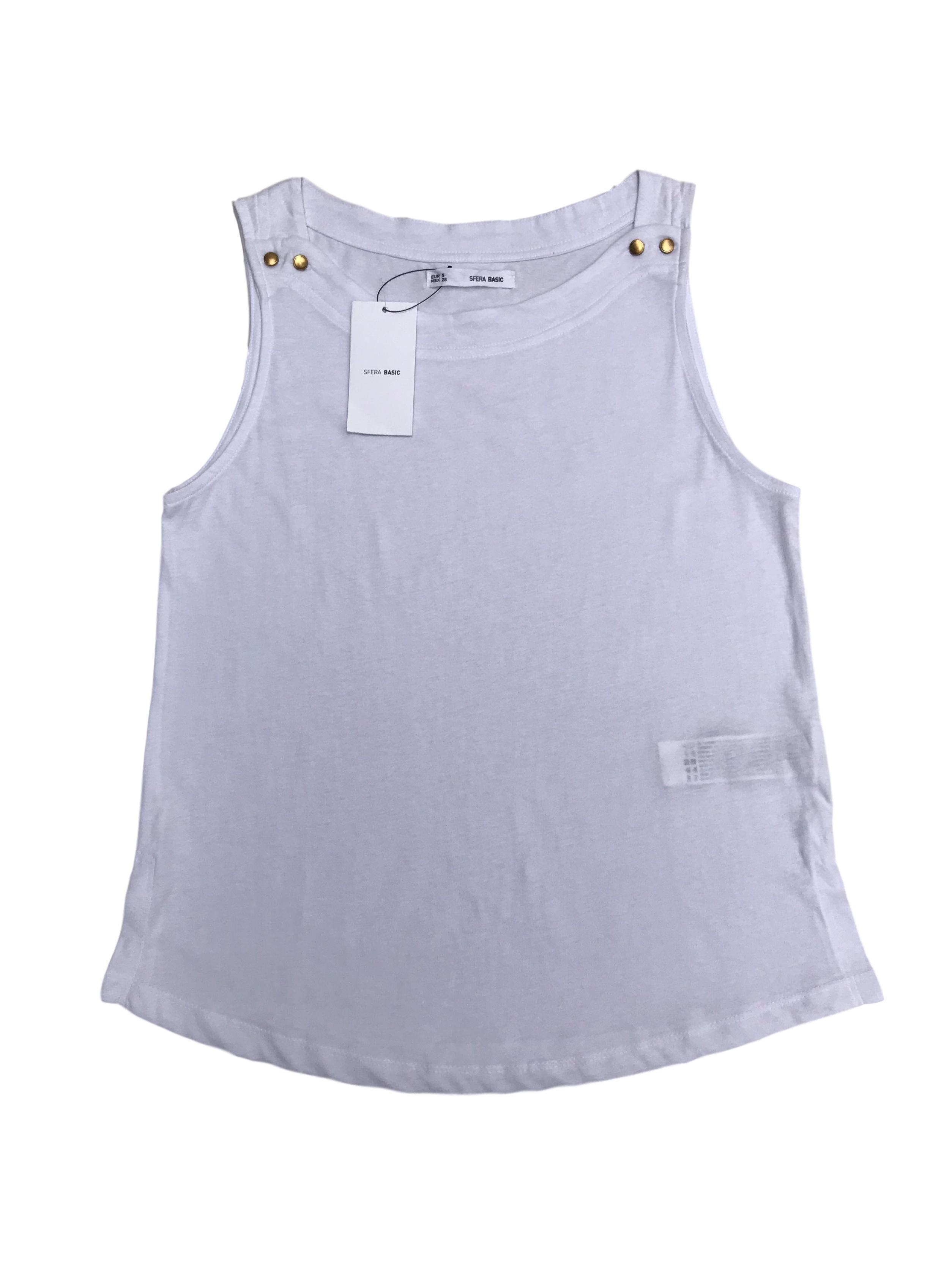 Polo Sfera 100% algodón blanco con botones dorados en los hombros. Nuevo con etiqueta