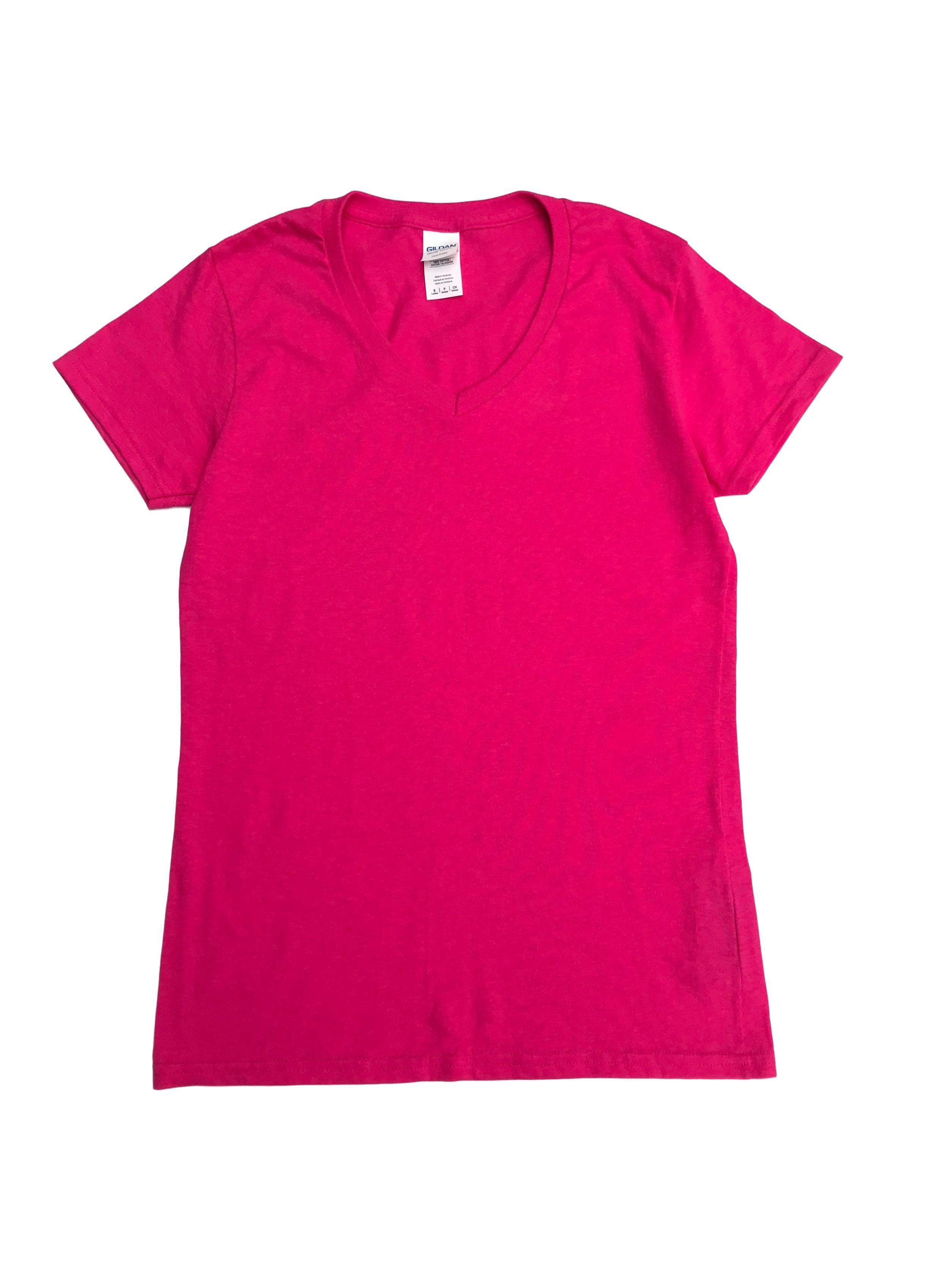 Polo fucsia 100% algodón de tela tipo piqué delgada, manga corta y cuello en V