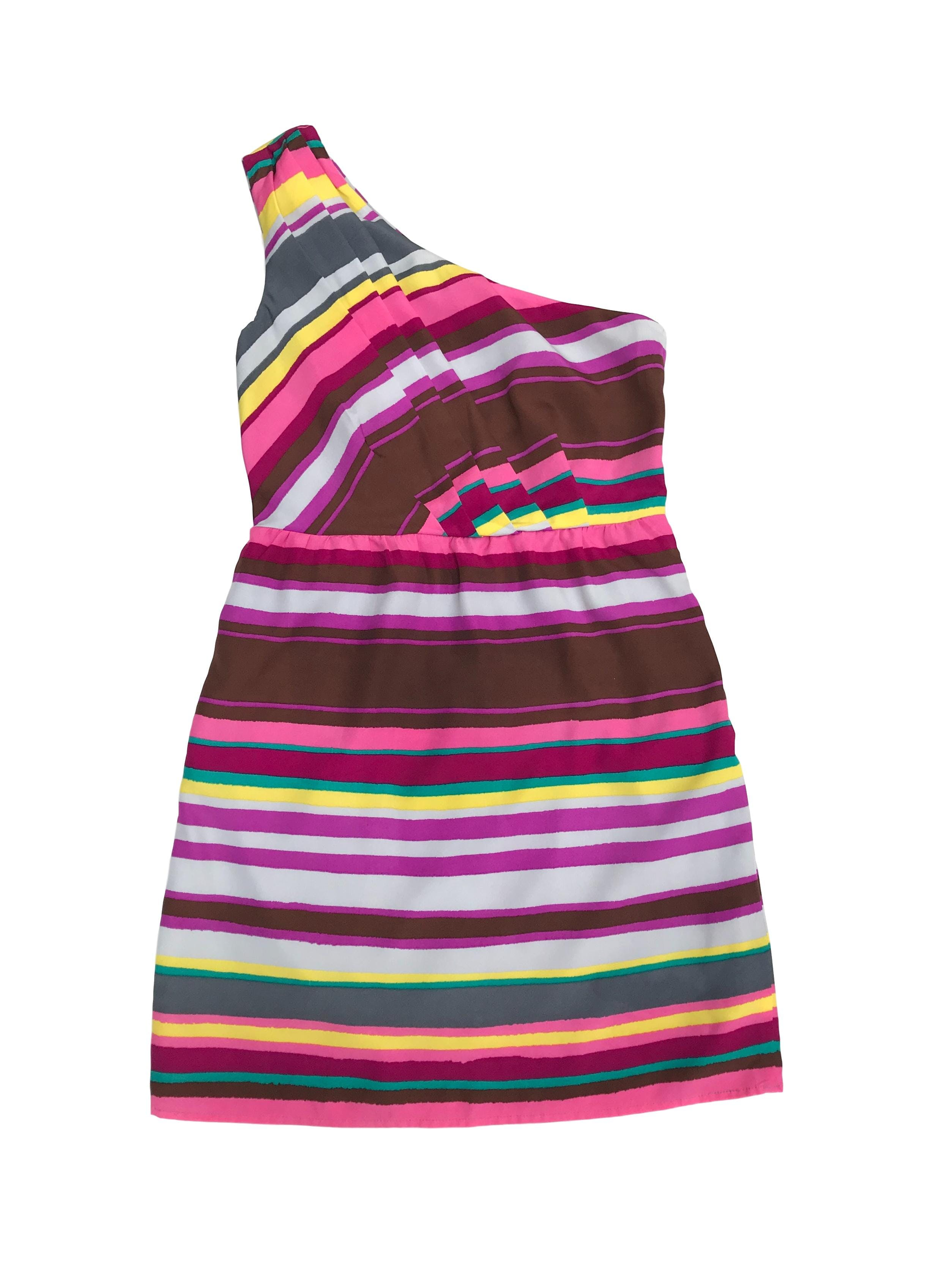 Vestido Lily Rose one shoulder con pliegues y cierre lateral, forrado, corte a la cintura (72cm). Largo 83cm