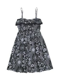 Vestido So 100% algodón negro con estampado blanco, forrado, con volante en el pecho, elástico en la cintura y falda en A. Largo 90cm foto 1