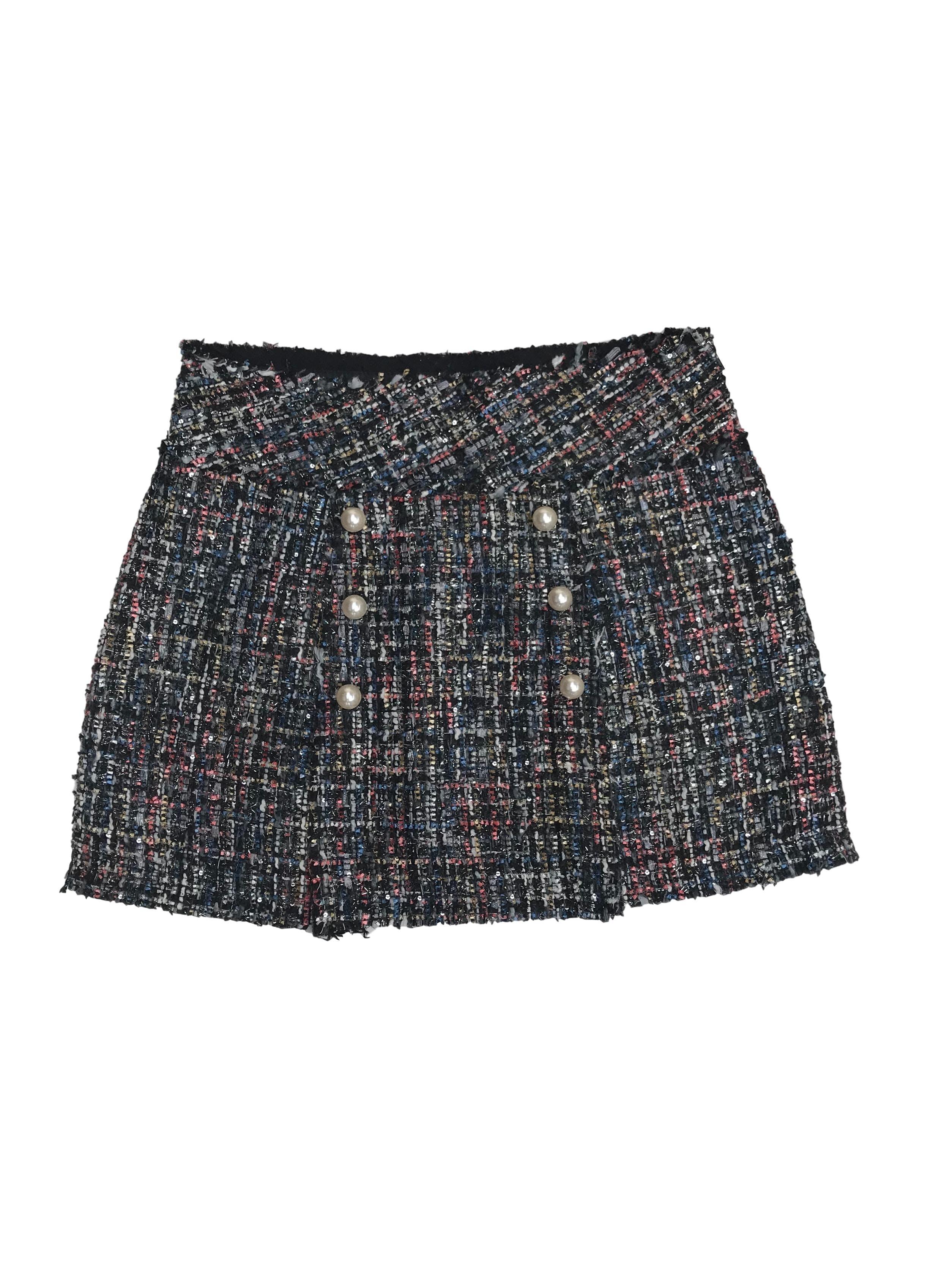 Falda Zara de tweed con doble fila de perlas, pretina ancha y cierre lateral. Pretina 78cm Largo 40cm. Precio original S/ 150