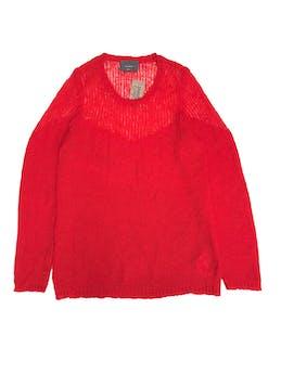 Chompa larga Basement, de tejido rojo menos tupido en hombros, queda suelta. Largo 72cm. Precio original S/ 129 foto 1