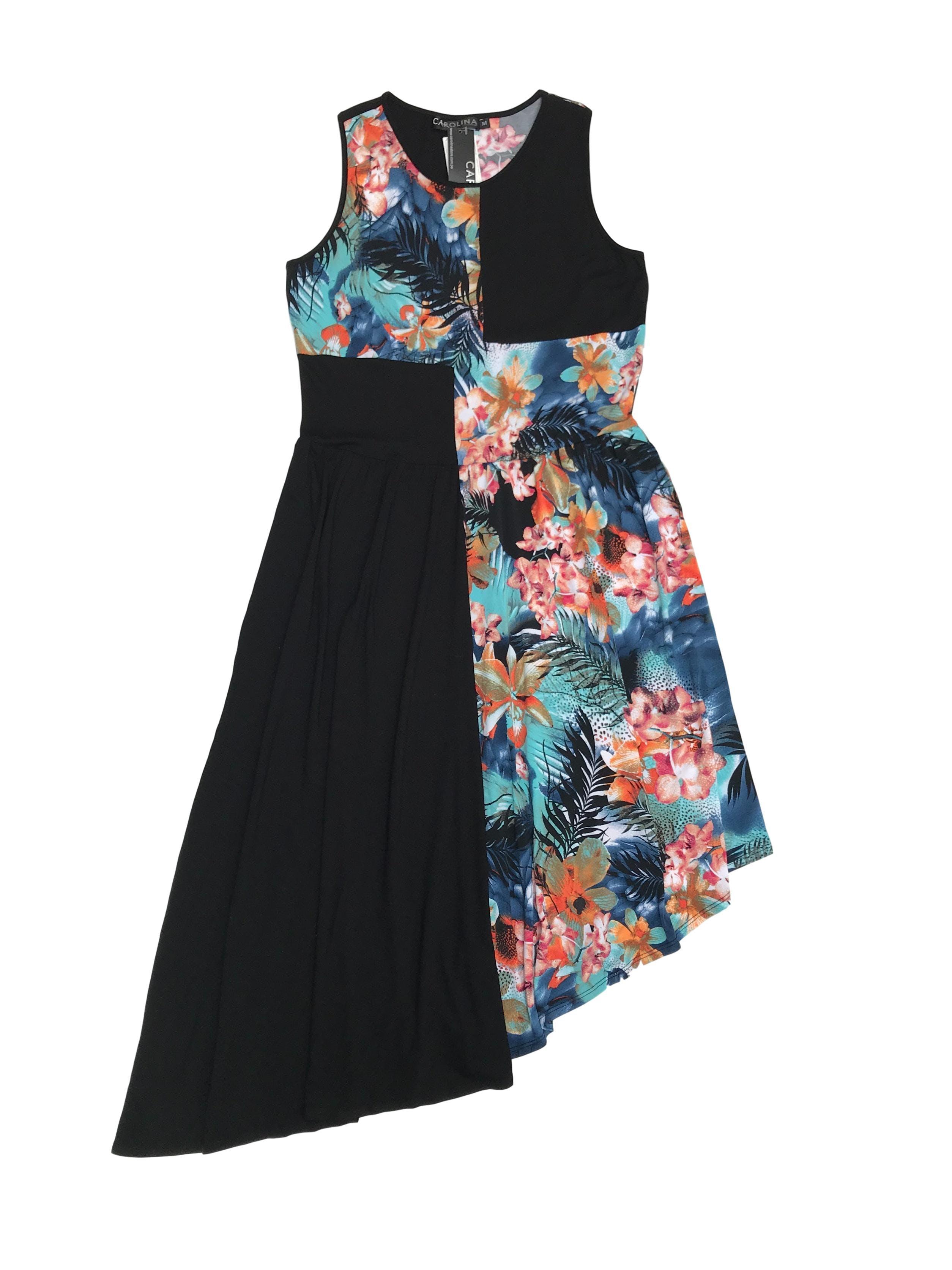 Vestido midi Carolina de basta asimétrica, tela tipo algodón en bloques y recogido en la cintura. Busto 96cm Cintura 84cm Largo 90 - 125cm Nuevo con etiqueta, precio original S/ 190