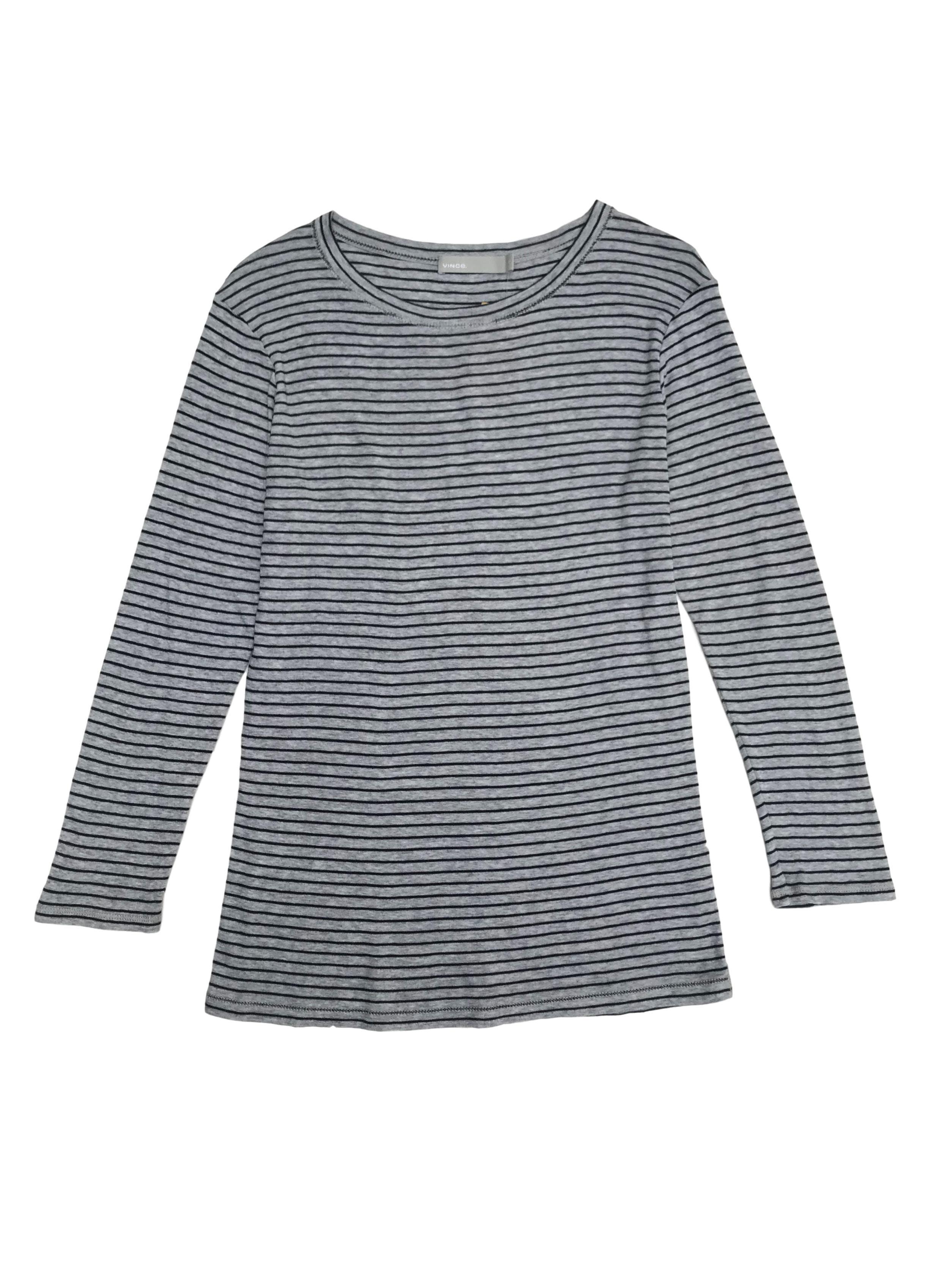 Polo Vince 100% algodón pima plomo con líneas negras, manga 3/4. Precio original S/ 300