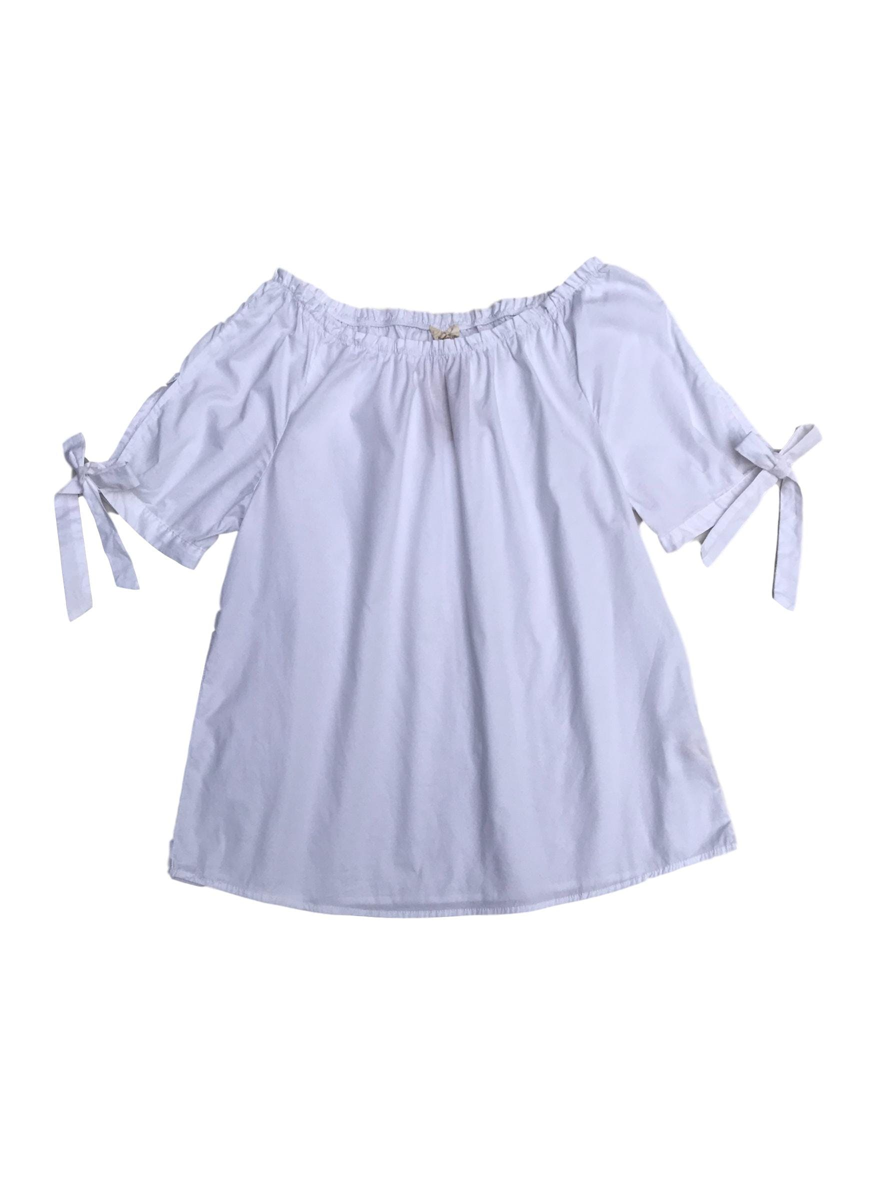 Blusa Navigata off shoulder blanca 98% algodón, con lazo en las mangas