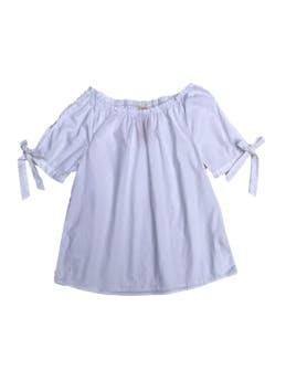 Blusa Navigata off shoulder blanca 98% algodón, con lazo en las mangas foto 1