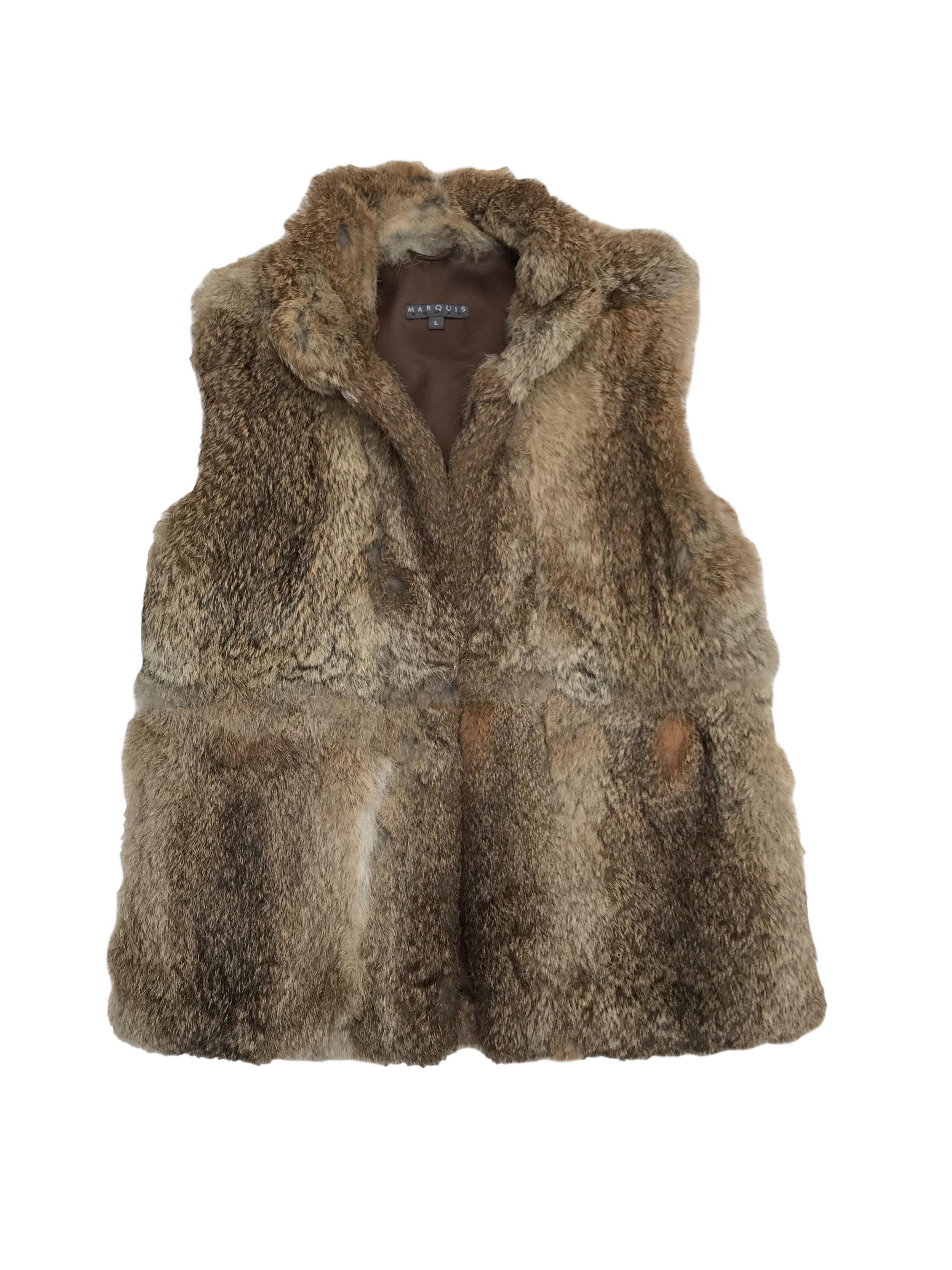 Chaleco Marquis 100% rabbit fur, forrado y cierra con corchetes