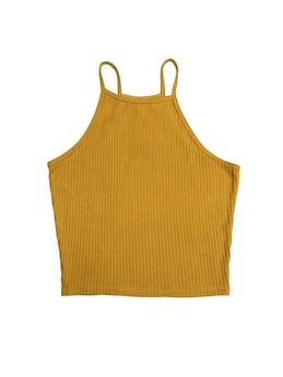 Polo corto amarillo con líneas al tono foto 1