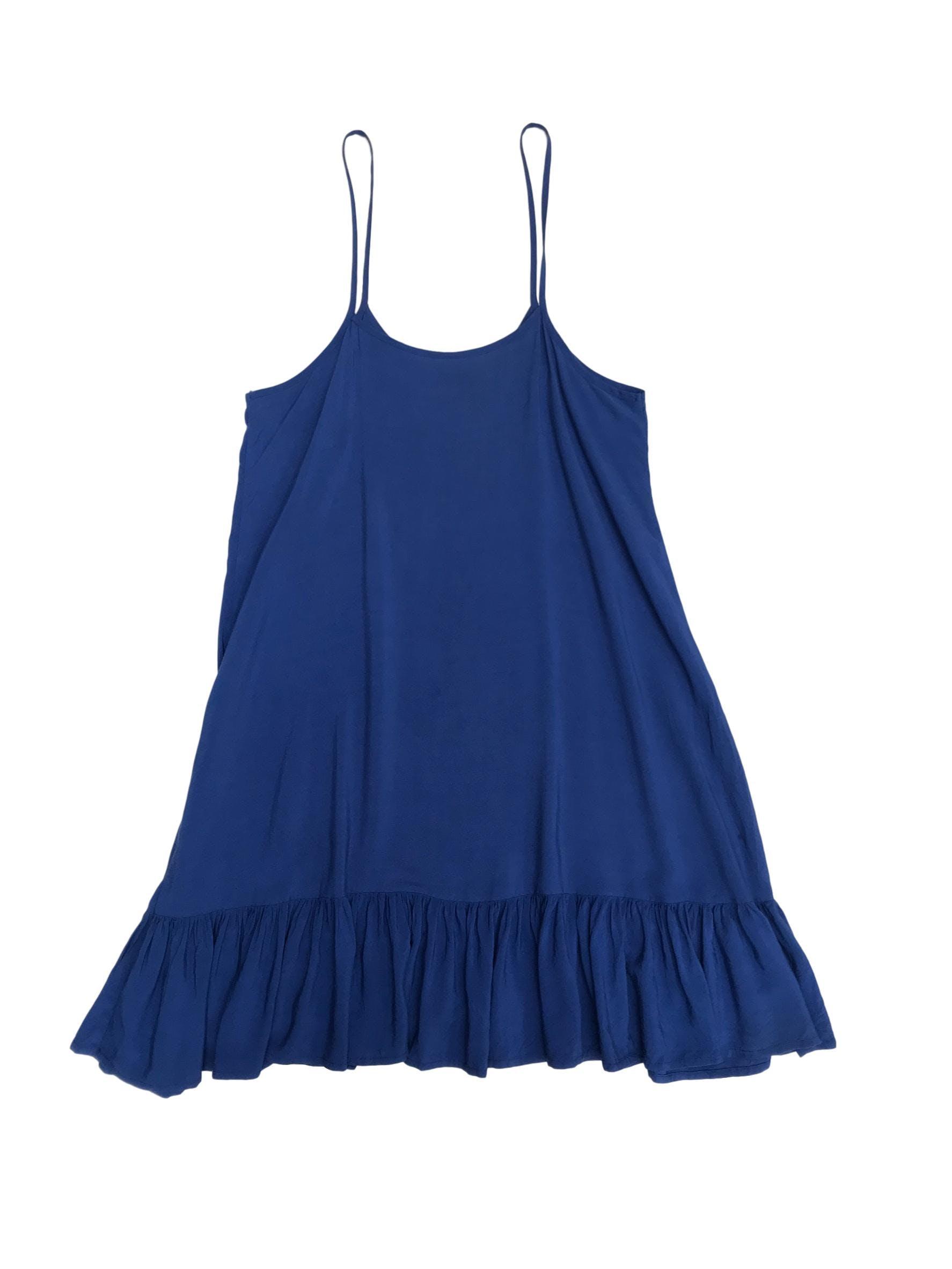 Vestido playero de tiritas azul con volante en la basta. Largo 86cm