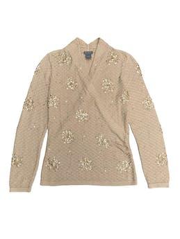 Chompita Ann Taylor beige 80% seda 20% algodón, con aplicaciones de mostacillas, delantero cruzado. Precio original S/ 380 foto 1