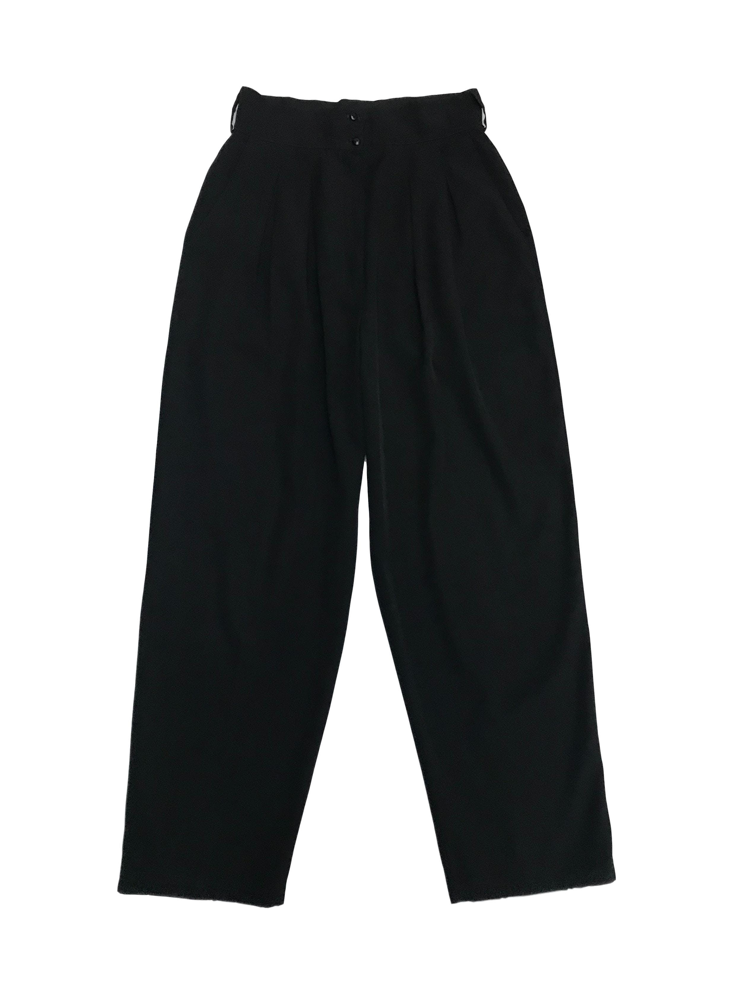 Pantalón vintage a la cintura con pinzas y bolsillos laterales. Cintura 70cm