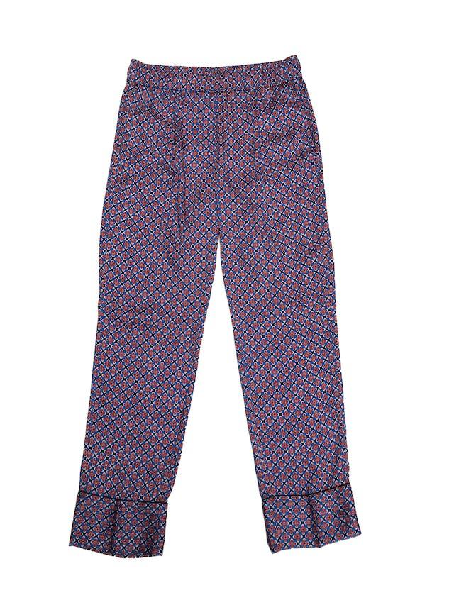 Pantalón fluido Sandro Paris tipo seda con estampado barroco azul y rojo, con bolsillos laterales. Pretina 76cm. Trendy. Precio original S/ 350 foto 1