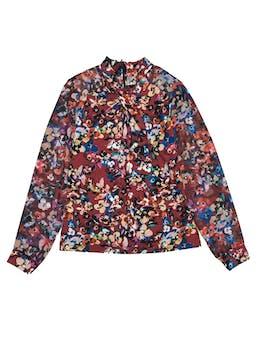 Blusa Karen Millen floreada stretch con mangas de gasa, lleva cierre en la espalda. Nuevo con etiqueta. Precio original S/ 300 foto 1
