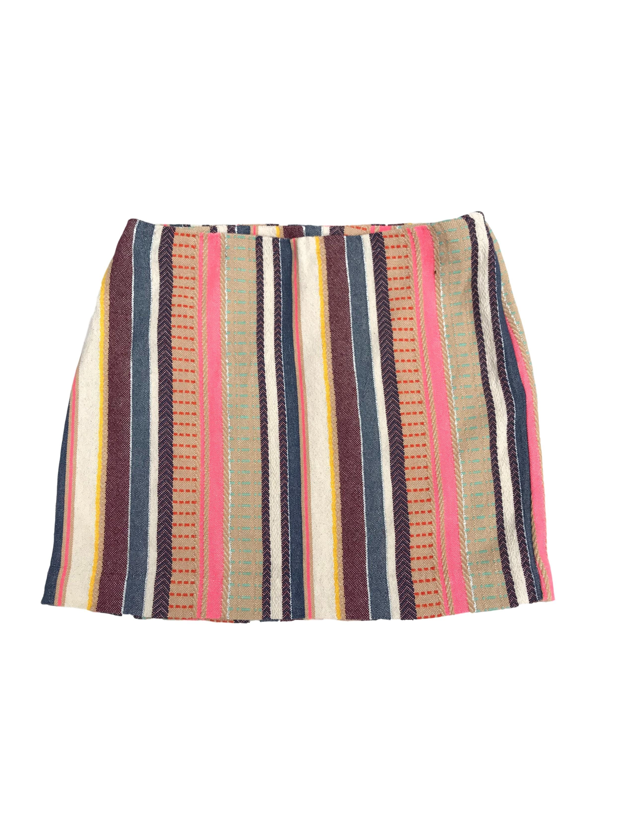 Falda mini H&M 82% algodón motivo étnico, forrada con cierre lateral. Pretina 74cm Largo 40cm